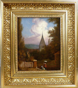 UNSIGNED! EVENING LANDSCAPE WITH CHURCH AND FIGURES.