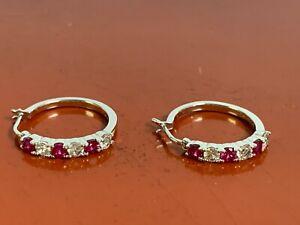 Sterling Silver Created Ruby  & Topaz Design Hoop Earrings