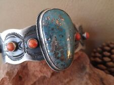 NAVAJO Sterling Silver Pilot Mtn Mine Turquoise & Coral Cuff Bracelet Signed