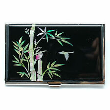 Bamboo and black business card case decorated with mother of pearl