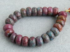 """12mm. Natural Ruby Zoisite Smooth Rondelle Gemstone Beads 6.5"""""""