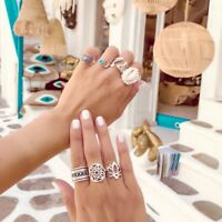 7PCS / Set Boho Damen Muschel Mond Hohl Lotus Offen Finger Ring Schmuck Super