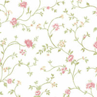 Floral Vine Wallpaper Flower Patton Pink Red Norwall Wallcoverings PP27729