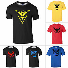 Herren Pokemon Go Team Mystic Instinct Pokeball Kurzarm T-Shirt Jersey Tops 3XL