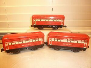 Lot of 3 Marx O-Gauge Train 4-Wheel Tin Red Passenger Cars w/ Knuckle Couplers