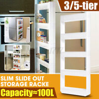 Rolling 3/5 Tiers Kitchen Storage Cabinet Shelf Slim Can Spice Rack