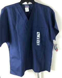 CHEROKEE WORKWEAR SCRUBS V NECK UNISEX SIZE S  NEW W/ TAGS NAVY
