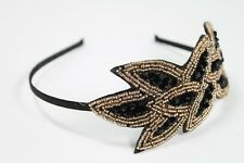 Leaf Design Vintage Look Flapper Headband Hair Accessories Black Gold Headband!!