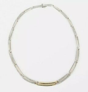 David Yurman Classic Cable Link Sterling Silver 18k Gold Designer Necklace