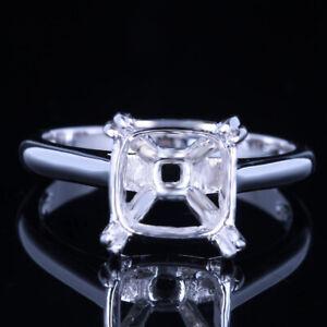 9x9MM CUSHION CUT 925 STERLING SILVER RING SEMI MOUNT ENGAGEMENT WEDDING RING