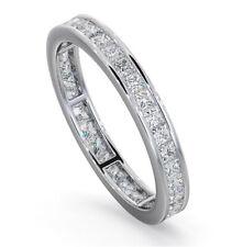 Women's Princess Cut Diamond Solid Silver Eternity Anniversary Wedding Ring Band