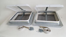"""2 PACK camper Roof Vent 14"""" RV WHITE Lid non powered butyl TAPE & screws 71111"""