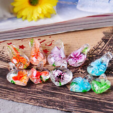 10x Women Leaf Flower Heart Love Drop Glass Lampwork Bead Pendant Necklace Gift