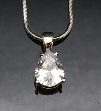 Tear Drop Diamond Pendant Necklace White Gold GF Wedding Bridal Crystal Chain