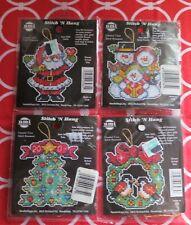 4 NMI CHRISTMAS ORNAMENTS - Cross Stitch - SANTA - SNOW FAMILY - TREE - WREATH