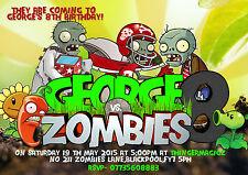 Personnalisé Garçons Fête D'Anniversaire invitations plant vs Zombie x 8