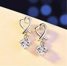 925 Sterling Silver Heart Drop Cubic Zirconia Earrings Womens Girls Earring Gift