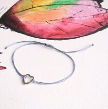 Grey Cord Bracelet, Friendship Love Heart Pendant with