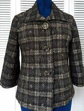 Chico's Size 1 Black Gold Metallic Lace 3/4 Sleeve Lined Jacket Blazer