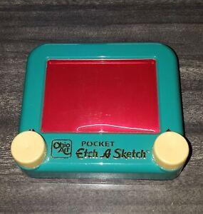 """Vintage Ohio Art """"Pocket"""" Etch A Sketch w/ Turquoise Frame - Model #1HO405"""
