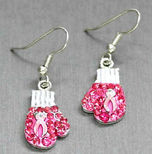BREAST CANCER RIBBON PINK BOXING GLOVES RHINESTONE WIRE DANGLE EARRINGS