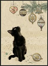 Bug Art Christmas card embossed foiled effect 'Kitten Decorations' SINGLE CARD