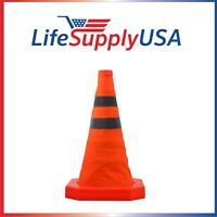 "8PK Collapsible 15.5"" Reflective Pop Up Road Safety Extendable Traffic Cones"