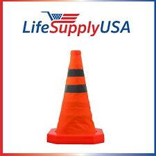 "100PK Collapsible 15.5"" Reflective Pop Up Road Safety Extendable Traffic Cones"