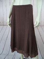 J Jill Petite Skirt SP Brown Rayon Lycra Stretch Knit Elastic Waist Boho
