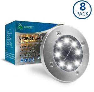 8 Packs Solar In-Ground Lights Waterproof Solar Garden Lights Disk Lights 8x LED