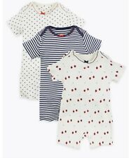 Marks and Spencer New - newborn 3 organic cotton rompers baby girl