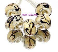 Fashion Brown Feather Lampwork Glass Big Hole Beads Fit European Charm Bracelet