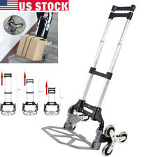 Portable Climbing Stair Cart Folding Hand Truck Trolley 6 Crystal Wheel Withrope