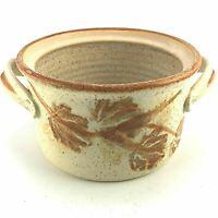Bennett Welsh Studio Pottery Pot Signed Brown Beige Leaves Stoneware