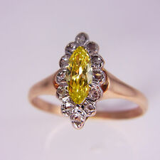 Georgian Early Victorian Canary Yellow Diamond Engagement Ring 18K Gold Rose Cut