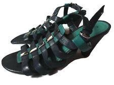"""Marco Tozzi Talla 6 Damas Sandalias Zapatos con Tiras Tacón De 3"""" Verde Azulado Azul Boda Invitado"""