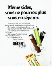 Publicité Advertising 067  1970  briquet jetable Cricket automatic