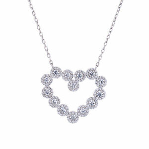Jewelco London Silver CZ Love Heart Halo Cluster Necklace 22mm x 25mm 15.5 + 2''