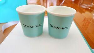 TIFFANY & CO BONE CHINA Espresso Paper Cup set of 2 Tiffany Blue New