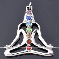 1x 7 Stone Crystal Glass Reiki Healing Yoga Meditation Chakra Charm Pendant Bead