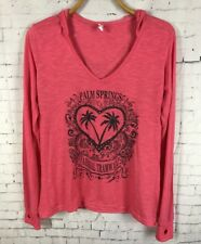 RESERVED PALM SPRINGS AERIAL TRAMWAY HOODIE LARGE WOMEN'S PINK SHIRT TOP (D5)