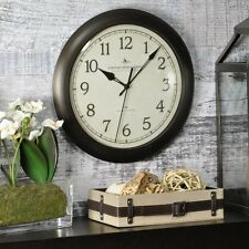 """11"""" Round Wall Clock, Very Quiet, No-Tick, Easy-To-Read, Convex Glass Lens"""