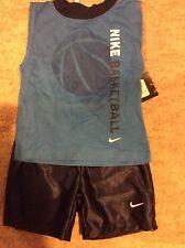 NWT NIKE 2 Pc. Blue/Navy Basketball Muscle Shirt Shorts Set 12M  FREE SHIPPING