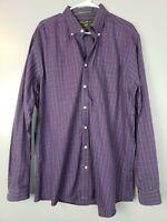 Eddie Bauer Men's Button Down Shirt Size XLT Purple Plaid Wrinkle Resist Relaxed