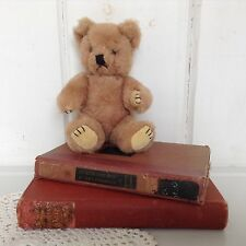 Vintage Grumpy Teddy Bear 7 1/2 Inch Jointed (Maybe Mohair not sure) Glass Eyes