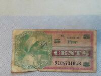 Military Payment Certificate Series 661 5 Cents Vietnam 1968-69 Cool vignette