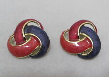 "Vtg Purple & 2 Shades of Red Enamel 1-1/4"" Gold Tone Knot Earrings Post MINT"