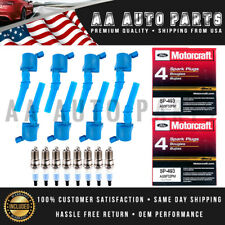 DG508 Blue Ignition Coil & SP493 Motor Craft Spark Plug 8PCS For Ford Lincoln
