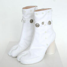 MAISON MARTIN MARGIELA split toe gypsy coin embroidered white tabi boots 37 NEW