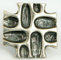 VINTAGE BRUTALIST FINE FASHION STERLING SILVER CROSS BROOCH PIN UNIQUE SHAPING !